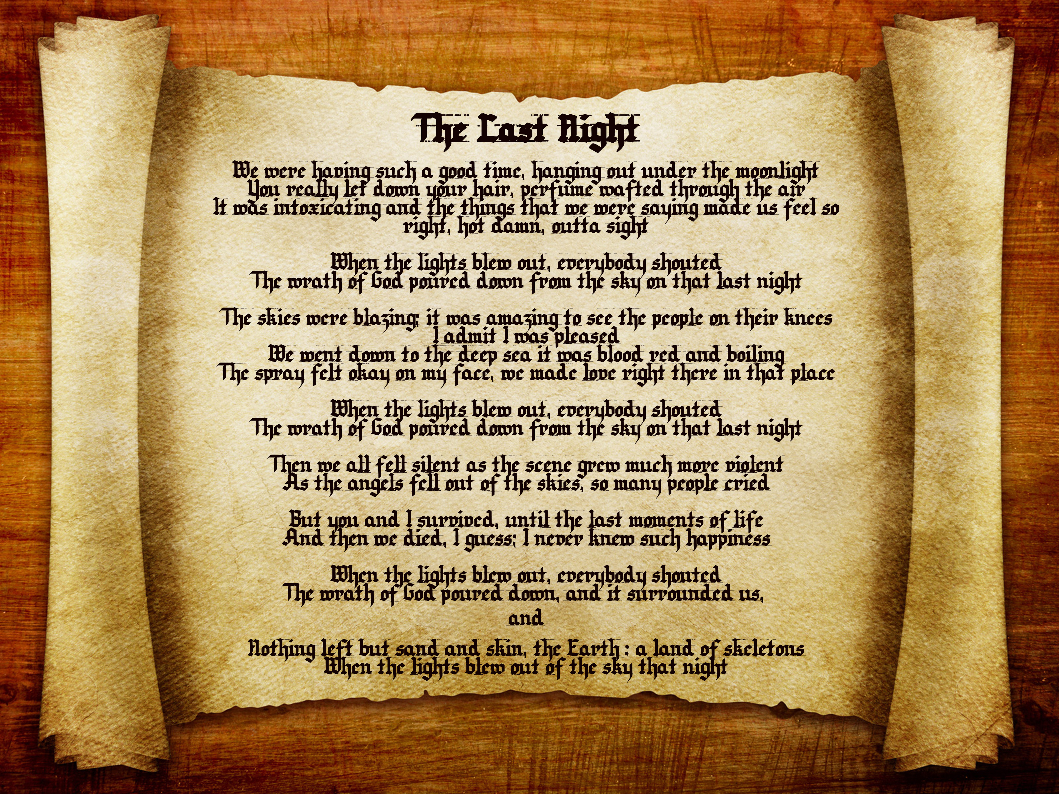 The Last Night scroll